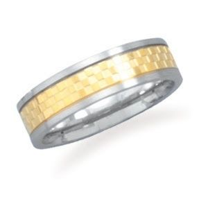 Men's Silver & Gold Stainless Steel Ring